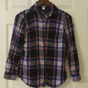 Blue, Black, Pink and White Plaid Button Down